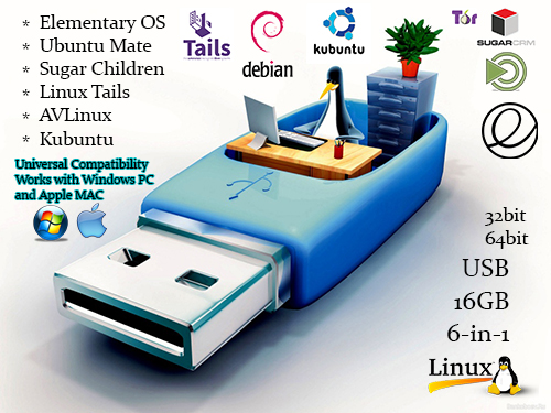 Universal Multi-Boot Linux Operating Systems OS Install Bootable Boot USB Flash Thumb Drive for PCs and Apple MACs